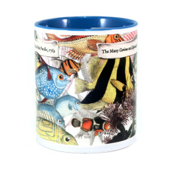 Mug: The Many Curious and Splendid Fish of the Pacific, 1769 (Colored Inner & Handle)