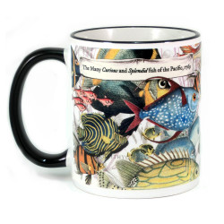 Mug: The Many Curious and Splendid Fish of the Pacific, 1769 (Colored Rim & Handle)