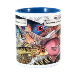 Mug: Extraordinarily Eyed Fish Observed in The Pacific, 1769 (Colored Inner & Handle)
