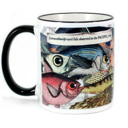 Mug: Extraordinarily Eyed Fish Observed in The Pacific, 1769 (Colored Rim & Handle)