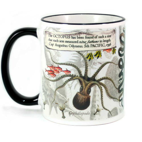 Mug: The Octopus With Arms Measuring Nine Fathoms, 1796 (Colored Rim & Handle). Made in New Zealand gift.