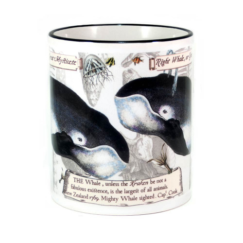 Mug: Right Whale or Great Mysticete (Colored Rim & Handle). Made in New Zealand gift.
