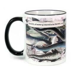 Mug: Sharks, All Manner Of, Observed In The Pacific, 1769 (Colored Rim & Handle)