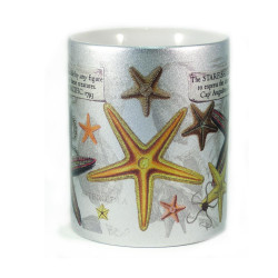 Mug: Starfish Found in The Pacific Ocean, 1793 (Sparkling Silver Mug)