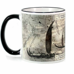 Mug: Journey of the Waka from Hawaiki to New Zealand (Coloured Rim & Handle)