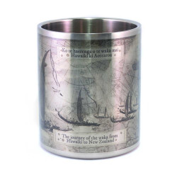 Mug: Journey of the Waka from Hawaiki to New Zealand (Stainless Steel Mug)