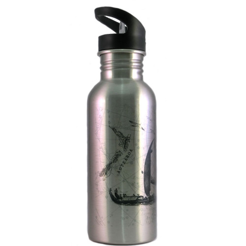 Water Bottle: Journey of the Maori Waka from Hawaiki to New Zealand (Silver)