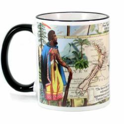 Mug: From Tahiti to New Zealand. HMS Endeavour 1769 (Coloured Rim & Handle)