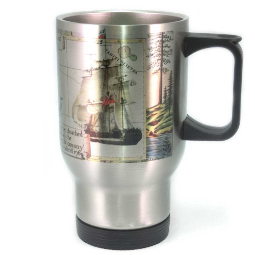 Mug: From Tahiti to New Zealand. HMS Endeavour 1769 (Travel Mug)