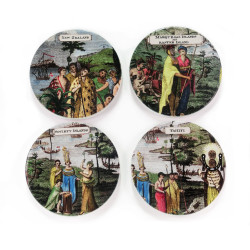 Coasters: Inhabitants of the South Sea Islands. Set of 4 (Ceramic)