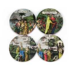 Coasters: Inhabitants of the South Sea Islands. Set of 4 (Hardboard)