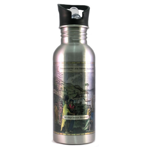 Water Bottle: Inhabitants Of the South Sea Islands (Silver)